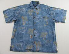 CARIBBEAN JOE Blue Floral Palm Tree SS Hawaiian Buttonfront Shirt Size XXL