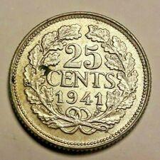 25 Cents 1941 Wilhelmina Niederlande  .640 Silber 3,6 g KM#164 Nederlands