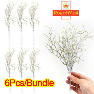 New 6X White Grass Snow Artificial Pine Branch Simulation Flowers Christmas