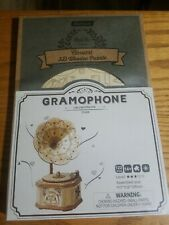 Robotime Gramophone CLASICAL 3D WOODEN PUZZLE NEW FACTORY SEALED.