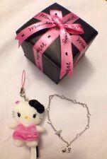 Hello Kitty Momoberry Sanrio Sterling Silver Heart Bracelet Plush Charm RARE