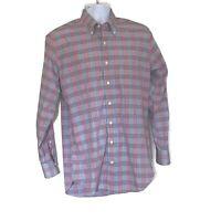 Peter Millar Mens Button Down Long Sleeve Size M Shirt Blue Blue Red Plaid