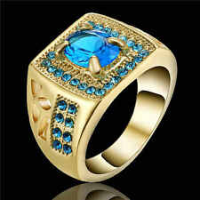 Jewelry Size 7 Blue Aquamarine Fashion 18K Gold Filled Anniversary Ring For Man