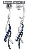 blue black diamond .33 carat white dangle 925 earrings infinity love screwback