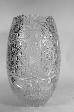 Hand Cut Crystal Vase Made in Turkey Large Turkish Glass Vase Sawtooth Rim