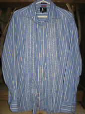 Tommy Hilfiger Shirt Embroidered Mens XL Blue White Stripes Long Sleeves