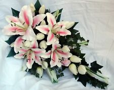 WEDDING BOUQUET,PINK & IVORY LILLIES, IVORY TULIPS