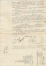 PAPIER ANCIEN PARCHEMIN DROIT DE BAIL LOCATION DE TERRES ET ANIMAUX 1842