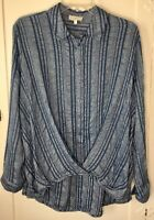 Lucky Brand Tunic Blue Stripped Tab Roll Up Sleeves Top Shirt Women's Small NWOT