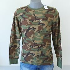 New Abercrombie & Fitch Men's Long Sleeve Pocket Tee Logo T-Shirt Camo M