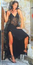 Designers French Resille Long Black With Lace Sexy Dress Open Back New Sz S