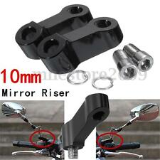 2X CNC 10mm Black Motorcycle Bike Mirror Mount Riser Extender Adaptors Adapters