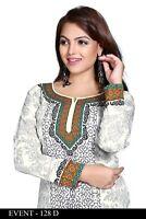 NEW Indian Designer Printed Black White Crepe Silk Kurtis Tunic Top Kaftan Women