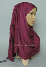 Premium Cotton Jersey Hijab Scarf Shawl Wrap Muslim Headwear Small Burgundy