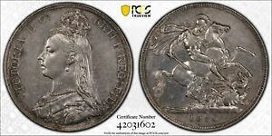 1890 Great Britain Silver Crown S-3921 VICTORIA PCGS Detail Cleaned KM# 765