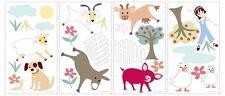 4 PLANCHES ADHESIFS STICKERS SET DECORATION ANIMAUX FERME CHAMBRE ENFANTS