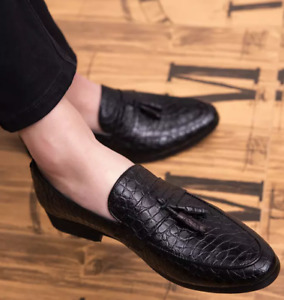 Men's Alligator Tassels Oxfords Retro Casual Shoes Dress Formal Business Loafers