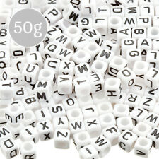 Mixed Alphabet White Cube Acrylic Letter Beads 6mm 50g (A87/3)