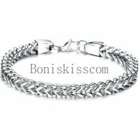 Men's Heavy Stainless Steel Square Curb Wheat Chain Link Clasp Bracelet Bangle