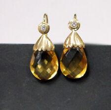 18K Gold Designer earrings Diamonds and Citrine gemstone fine handmade jewellery