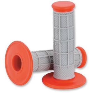 Moose MX Half Waffle Orange Grey Grips KTM 65 85 105 125 144 150 250 350 450 525
