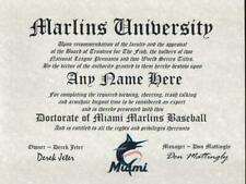 Marlins Fan ~ Miami Marlins~Certificate ~Diploma~ Gift~ Man Cave ~ Office