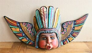 Angel Faced Baby in a Feather Headdress with WIngs Mask Boroque Putto Mexico