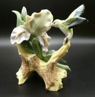 Collectable Porcelain Iris with Hummingbird Figurine Hand Painted