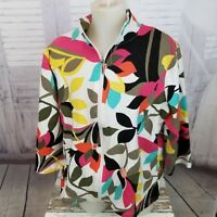 Women Onque Casuals top zip casual elements shirt M med coat jacket floral top