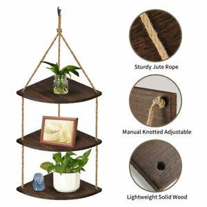 Rustic Hanging Swing Corner Shelves Solid Wood Rope Floating Shelf Storage Unit