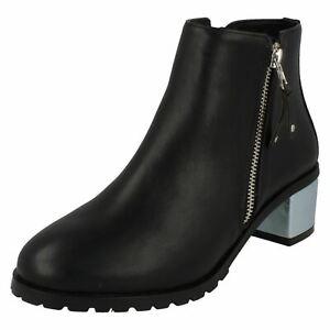 LADIES ANNE MICHELLE F5R0633 ZIP UP BLACK BLOCK HEEL CASUAL WINTER ANKLE BOOTS