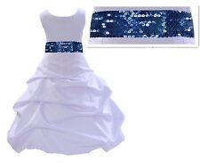 Flower Girl Dress Birthday Wedding Formal Pageant Bridesmaid Metallic Mesh Sash