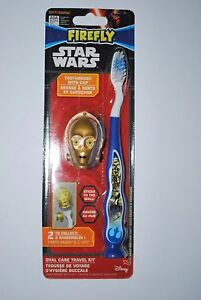 Star Wars C-3PO Oral Care Travel Kit Toothbrush Molded Helmet Cover MIP Firefly
