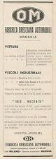 Z3100 Fabbrica Bresciana Automobili Brescia OM - Pubblicità - 1933 old advert