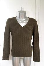 bonito suéter de hombre algodón caqui verde label RALPH LAUREN talla XL