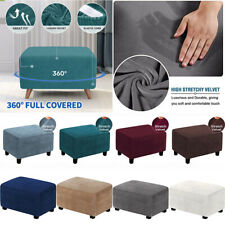 Stretch Ottoman Slipcover Velvet Fabric Storage Stool Footstool Protector Covers
