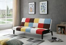 WestWood Patchwork Rainbow Sofa Bed Click-Clack 3 Seater Retro Couch Settee