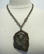 Rare Gerard Yosca Statement Brass with Crystals On Wood Necklace,