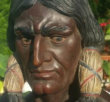 NYC CIGAR STORE INDIAN statue vtg tobacco antique american folk art humidor box