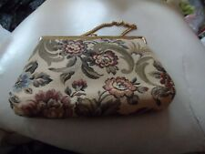 Ladies off white tapestry evening bag with floral pattern by Verdi
