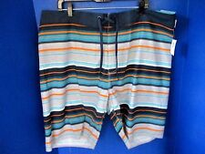 Old Navy~Navy Blue,Orange,Gray Striped BOARD SHORTS~Knee Length~Men's XXL~NWT