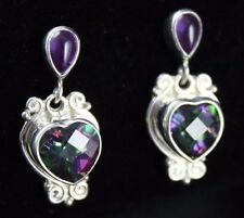 Sajen Mystic Topaz Amethyst  Heart Dangle Post Earrings Sterling Silver .925