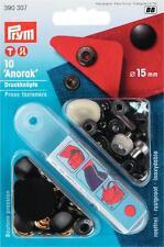 10 Anorak Druckknöpfe nähfrei 15 mm schwarz Prym 390307 Druckknopf mit Werkzeug