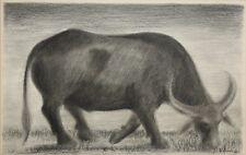 VENANCIO IGARTA-Filipino Modernist-Original Signed Charcoal-Water Buffalo
