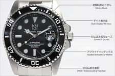 HYAKUICHI 101 Black Bezel Watch 200m Scuba Diver Submarine Quartz Japan Movement