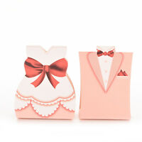 100Pcs Pink Bride Groom Tuxedo Dress Gown Wedding Favor Candy Boxes Gift DSUK