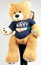 Big Plush Giant Soft 5ft Teddy Bear Wears Tshirt SOMEONE IN THE NAVY LOVES YOU