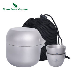 Titanium Tea Pot with 2 Cups Set Outdoor Indoor Camping Tea Strainer Kettle Pot