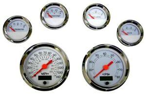 6 Gauge set with senders,Speedo,Tacho,Oil,Temp,Fuel,Volt, white/chrome, 043WC-S