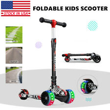 Led Scooter for Kids with 3 Light Up Wheels Adjustable Boys Girls Kick Scooter